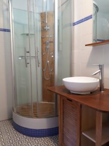 Le Tineiral à Néffies, apartment Les Romarins. There is a separate WC and shower room and a hairdryer, iron and ironing board are provided for your convenience.
